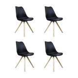 Scandi Style Dining Chair, Pyramid Beech Wood Legs, Black, Set of 4