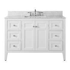 Maili Vanity, White With Carrara Marble Top and Silver Hardware, 48""