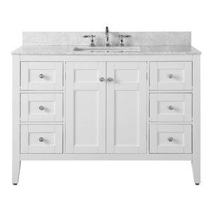 "Maili Bath Vanity, White With Italian Carrara Marble, 48"""