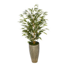"""Artificial 56"""" Bamboo, Angled Industrial Metal Planter, Yellow Stem"""