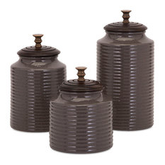 IMAX Worldwide Home   Beth Kushnick Grey Lidded Canisters, 3 Piece Set    Kitchen