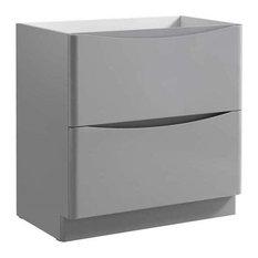 "Fresca Tuscany 32"" Free Standing Modern Wood Bathroom Cabinet in Glossy Gray"