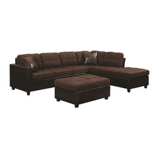 Coaster Home Furnishings - Coaster Mallory Reversible Sectional, Chocolate - Sectional Sofas