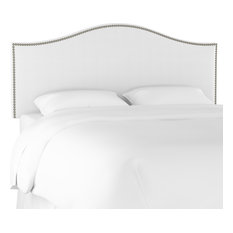 Kelly California King Nail Button Headboard In Twill White