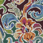 Company C - Soiree Rug, 1x1 - Swirling jewel tones rendezvous with deep vibrant hues in a lush leafy pattern reminiscent of rich damask designs. Tie-dyed yarns add a multitude of subtle shadings, resulting in a hand-tufted rug with energetic appeal. 100% wool hand-tufted in a loop pile.