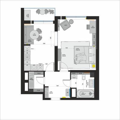 Поиск планировки: Однушка с кухонным островом [6 вариантов]