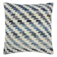 """20""""x20"""" Mina Victory Life Styles Woven Diagonal Denim Throw Pillow"""