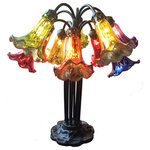 River of Goods - 21�H Mercury Glass 10 Lily Downlight Table Lamp, Rainbow - An absolute show-stopper! This 10 lily downlight table lamp is handcrafted with bright red, green, blue, yellow, purple and orange mercury glass. The lily shades have a beautiful glow that will create an amazing focal point to any space you chose. The base is made with 100% hand cast metal and the overall craftsmanship is absolutely exquisite!
