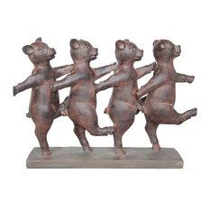 Philip Dancing Pigs Decoration, Rust
