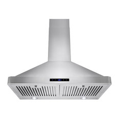 """AKDY Euro Stainless Steel Wall Mount Range Hood, 30"""", Duct/Pipe"""