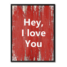 """Hey I Love You Inspirational, Canvas, Picture Frame, 7""""X9"""""""