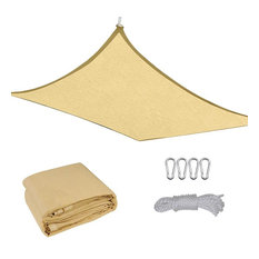 16x12' Outdoor Patio Rectangle Sun Sail Shade Cover Canopy Top Shelter With Rope