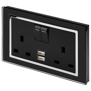RetroTouch Double Switched 13A Plug Socket 2.1A USB, Black Glass With Trim