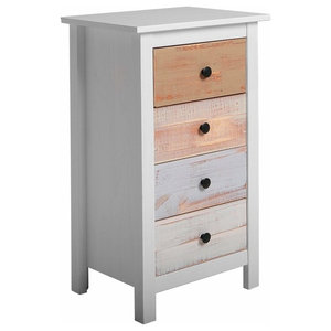 Chest of Drawers With White Finished Wooden Frame and Multi-Coloured Drawers