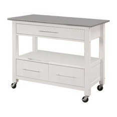 Benzara, Woodland Imprts, The Urban Port - Kitchen Cart With Stainless Steel Top, Gray and White - Kitchen Islands and Kitchen Carts