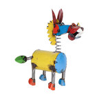 Recycled Metal Springy Donkey, Multi-Colored, Medium
