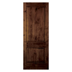 "Knotty Alder 2-Panel Square Top Solid Wood Stainable Interior Door Slab, 24""x80"""