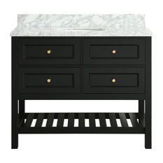 Elma Black Bathroom Vanity With Marble Top, 42""