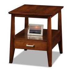 End Table Hardwood With Open Shelf and Lower Drawer Sienna Finish by Decorn