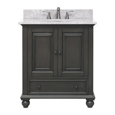 "Avanity Thompson 31"" Vanity, Charcoal Glaze Finish, Carrera White Marble Top"