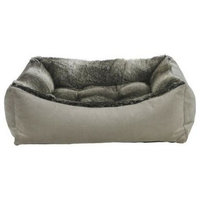 Scoop Bolstered Dog Bed, Pebble + Faux Fur Chinchilla, XL