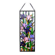 SORORIA, Tiffany-glass Iris Design Window Panel, 11.5x31.5