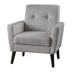 GDF Studio Sierra Mid Century Fabric Club Chair, Light Gray