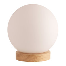 Lightaccents - Light Accents Round Table Lamp Natural Wooden Base With Glass Shade, Natural - Table Lamps