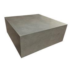 Trueform Concrete   Box Concrete Table, Limestone, 36x36   Coffee Tables