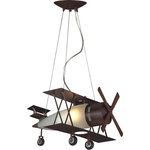 Design Living - Airplane Light Fixture With Frosted White Glass, Brown - This unique fixture is great for children's room. It has a airplane design makes this fixture unique. The material of this fixture is frosted glass. This fixture is in a brown finish.
