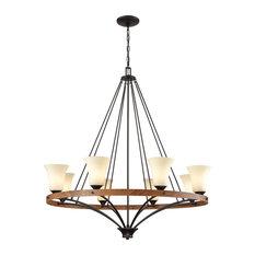 Thomus 8-Light Chandelier Rubbed Bronze Wood Grain Beige Scavo Glass