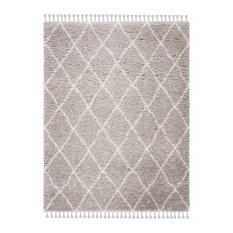 Safavieh Flokati Shag Collection FLK313 Rug, Light Gray/Ivory, 9'x12'