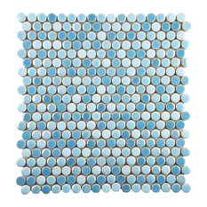 """11.75""""x11.75"""" Andromeda Penny Round Porcelain Mosaic Wall Tile, Oceano"""