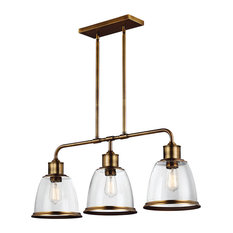 3-Light Island Chandelier, Aged Brass