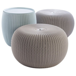 3-Piece Compact Indoor/Outdoor Table With 2 Seating Poufs, Misty Blue