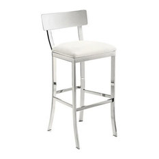 Artefac Ultra Stool Chrome And White Counter Height Bar Stools