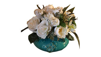 White Elegance in Turquoise Vase