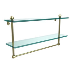 "22"" Two Tiered Glass Shelf With Integrated Towel Bar"