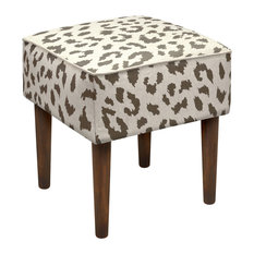 123 Creations Cheetah Modern Vanity Stool Brown Stools And Benches