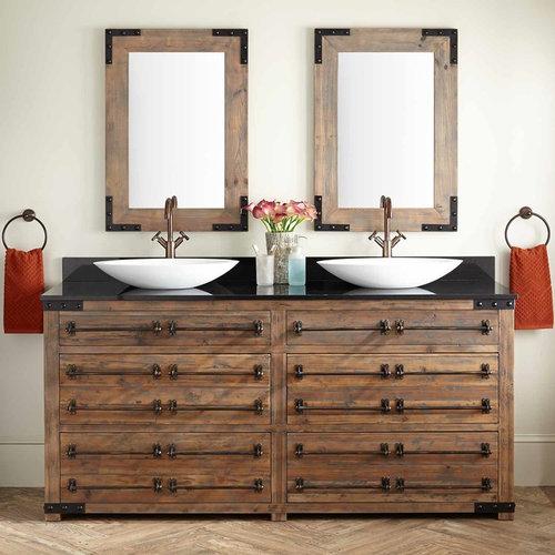 "72"" BONNER RECLAIMED WOOD DOUBLE VESSEL SINK VANITY - GRAY WASH PINE - Bathroom Vanities"