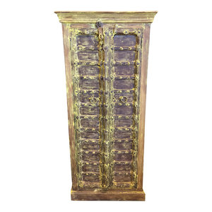 Mogul Interior - Consigned Antique Jaipur Cabinet Teak Doors Yellow Patina Rustic Armoire - Accent Chests And Cabinets