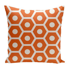 "Geometric Decorative Outdoor Pillow, Orange, 18""x18"""