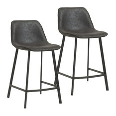 "Set of 2, Upholstered and Metal Base 26"" Counter Stool, Vintage Gray"