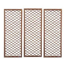 Selections Willow Trellises Framed Panels, 120x45 cm, Set of 3
