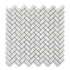"12""x12"" Thassos White Herringbone Mosaic Tile Polished, Chip Size: 5/8""x1.25"""