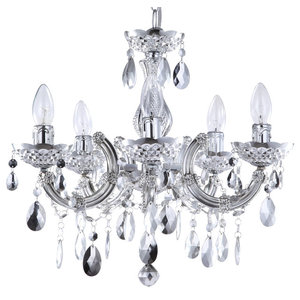 5 Light Marie Therese Chandelier, Silver