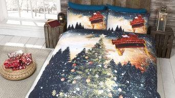 Northern Lights Christmas Tree & Santa Sleigh Quilt Duvet Cover Bedding Sets