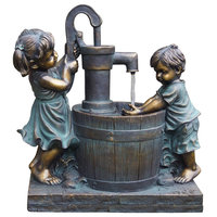 """Poly Girl & Boy At The Pump Fountain, 23.5"""""""