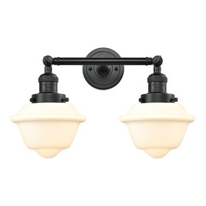 "2-Light Oxford 17"" Bath Fixture, Matte Black, Glass: White Cased"