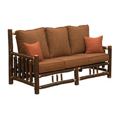 Natural Hickory Log Frame Sofa Includes Fabric And Cushions Upgrade Fabric